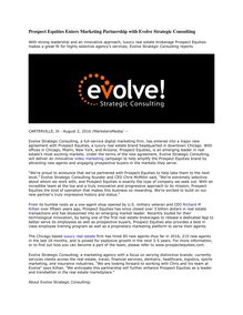 Prospect Equities Enters Marketing Partnership with Evolve Strategic Consulting