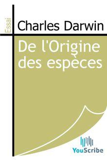 De l'Origine des espèces de Charles Darwin - fiche descriptive