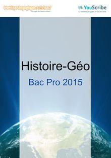 Corrigé Bac Pro 2015 - Histoire-Géo