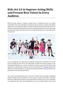 Kids Act LA to Improve Acting Skills and Present Best Talent In Every Audition