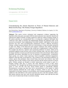 Conceptualizing the autism spectrum in terms of natural selection and behavioral ecology: The solitary forager hypothesis