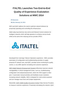 ITALTEL Launches Two End-to-End Quality of Experience Evalutation Solutions at MWC 2014