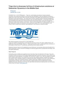 Tripp Lite to showcase full line of infrastructure solutions at Datacenter Dynamics in the Middle East