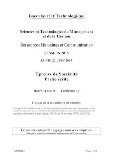 Bac 2015 - Ressources Humaines et communication - STMG