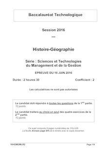 Baccalauréat Histoire-Géographie 2016 - Série STMG