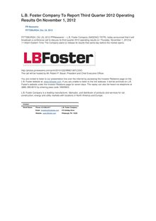 L.B. Foster Company To Report Third Quarter 2012 Operating Results On November 1, 2012