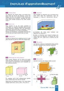 Chapitre M3 6ème : Volumes - Exercices d'approfondissement