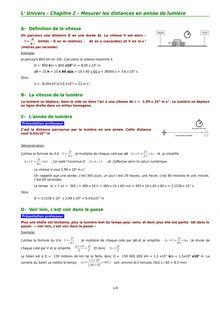 Mesurer les distances en année de lumière : chapitre de l'Univers - physique-chimie 2nd