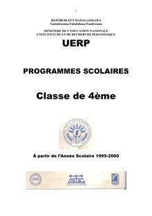Programme Educatif Madagascar 4ème