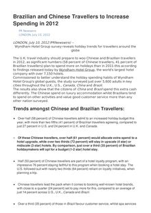 Brazilian and Chinese Travellers to Increase Spending in 2012