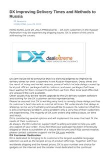 DX Improving Delivery Times and Methods to Russia