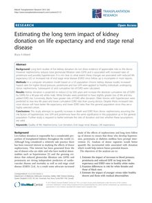 Estimating the long term impact of kidney donation on life expectancy and end stage renal disease