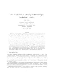 The pi calculus as a theory in linear logic: Preliminary results