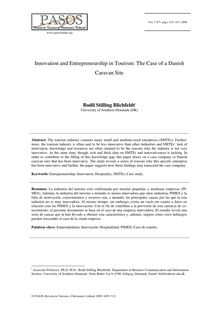 Innovation and Entrepreneurship in Tourism: The Case of a Danish Caravan Site