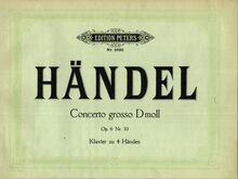 Partition couverture couleur, Concerto Grosso en D minor, HWV 328 par George Frideric Handel