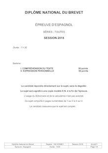 Brevet 2018 : sujets de langue vivante étrangère (espagnol)