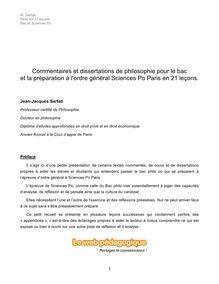 Bac et IEP Paris - Commentaires et dissertations de philosophie