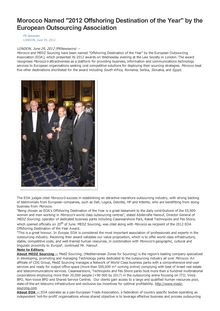 "Morocco Named ""2012 Offshoring Destination of the Year"" by the European Outsourcing Association"