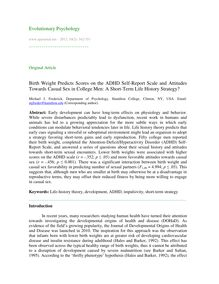 Birth weight predicts scores on the ADHD self-report scale and attitudes towards casual sex in college men: A short-term life history strategy?