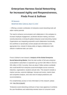 Enterprises Harness Social Networking for Increased Agility and Responsiveness, Finds Frost & Sullivan