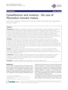 Cytoadherence and virulence - the case of Plasmodium knowlesimalaria