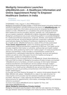 Medigrity Innovations Launches eMedWorld.com - A Healthcare Information and Online Appointment Portal To Empower Healthcare Seekers in India