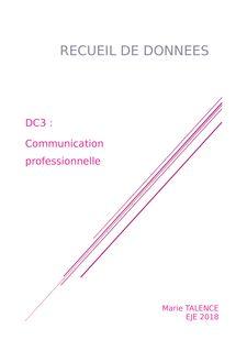 EJE : DC3 Recueil de données. communication professionnelle - helene benoit