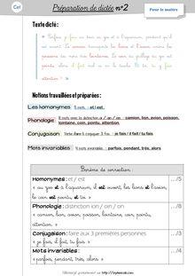 Orthographe / Grammaire / Vocabulaire CE1 – Préparations de dictées et leçons - Préparations de dictées n°2