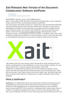 Xait Releases New Version of the Document Collaboration Software XaitPorter
