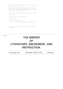 The Mirror of Literature, Amusement, and Instruction - Volume 17, No. 494, June 18, 1831