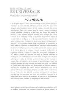 Définition de : ACTE MÉDICAL - Bernard GLORION