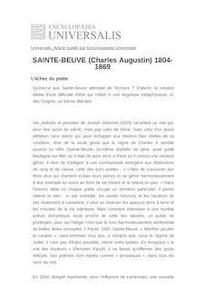 SAINTE-BEUVE (Charles Augustin) 1804-1869 -