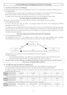 Chapitre sur les éléments chimiques dans l'univers - physique-chimie 2nd