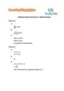 Brevet des collèges Mathématiques 2016 - Corrigé