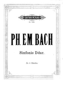 Partition de piano, Symphonie, H.663, D Major, Bach, Carl Philipp Emanuel