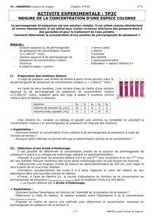 Exercice corrigé sur la mesure de la concentration d'une espèce colorée - physique-chimie 1ere S
