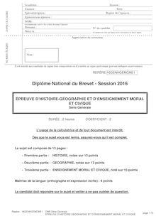 Brevet des collèges Histoire - Géographie - EMC 2016