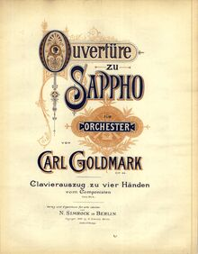 Partition couverture couleur, Sappho, Overture for Orchestra, Goldmark, Carl