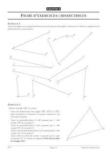 Fiches d'exercices sur les bissectrices - 6ème