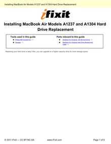 Installing MacBook Air Models A1237 and A1304 Hard Drive Replacement