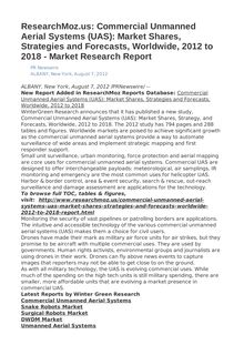 ResearchMoz.us: Commercial Unmanned Aerial Systems (UAS): Market Shares, Strategies and Forecasts, Worldwide, 2012 to 2018 - Market Research Report