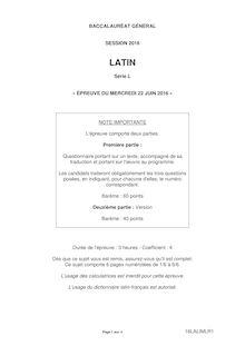 Baccalauréat Latin 2016 - Série L (corrigé)