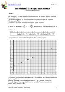 Contrôle sur les séries statistiques deux variables 3 - Annales du bac