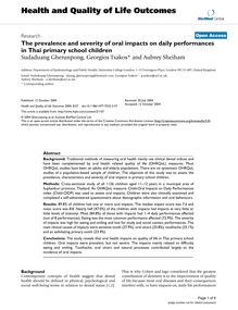 The prevalence and severity of oral impacts on daily performances in Thai primary school children