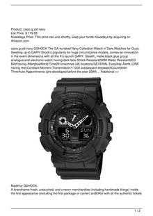 GSHOCK The GA 100 Military Series Watch in BlackWatches for Men Watch Reviews