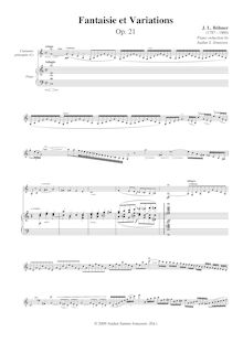 Partition Piano reduction (C - major, orig.), Fantaisie et Variations pour clarinette et orchestre, Op.21