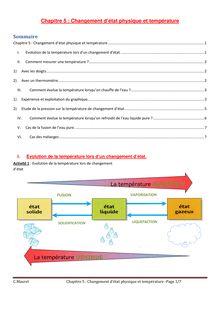 Changement d'état physique et température - Physique-chimie 5e