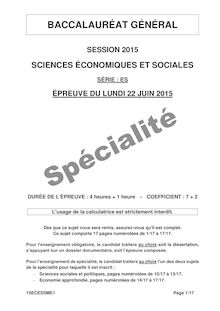Bac 2015 - SES - Specialite