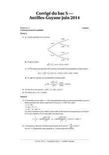 Corrigés du bac Maths Antilles-Guyane 2014