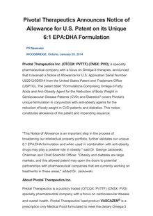 Pivotal Therapeutics Announces Notice of Allowance for U.S. Patent on its Unique 6:1 EPA:DHA Formulation